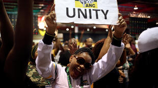 African National Congress members celebrate after South African deputy president Cyril Ramaphosa was elected president of the ANC at the 54th National Conference of the ruling party in December 2017.
