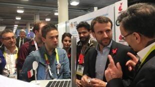 Le ministre de l'Economie, Emmanuel Macron, est venu à Las Vegas pour soutenir la French Tech, le 7 janvier 2016.