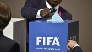 Các thành viên FIFA bỏ phiếu bầu chủ tịch Liên Đoàn Bóng Đá Thế Giới hồi tháng 05/2015.
