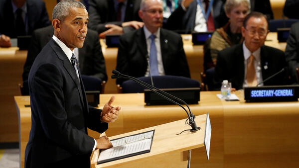Obama speaking at the UN General Assembly in New York