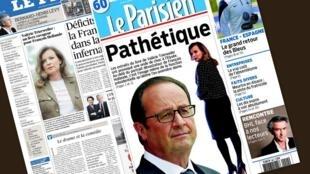 Capa dos jornais franceses Le Figaro e Le Parisien desta quinta-feira, 4 de setembro de 2014.