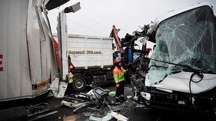The scene of the pileup on the A13 motorway