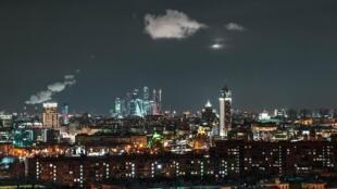 Vue de Moscou, la nuit.