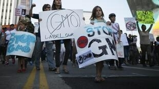 People hold signs during one of many worldwide March Against Monsanto protests, Los Angeles, 12 October, 2013