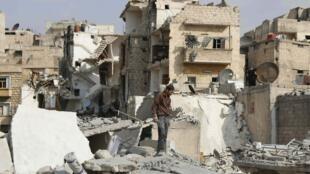 Al-Kalaseh neigbourhood of Aleppo last month