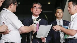 Ngoại trưởng Nhật Bản Taro Kono phát biểu sau khi Hàn Quốc thông báo ngừng chia sẻ thông tin tình báo với Nhật Bản, Tokyo, Nhật Bản, ngày 22/08/2019.