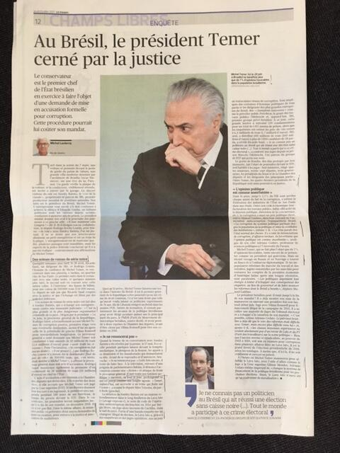 Reportagem sobre o presidente Michel Temer, publicada nesta quinta-feira, 6 de julho de 2017, pelo Le Figaro.