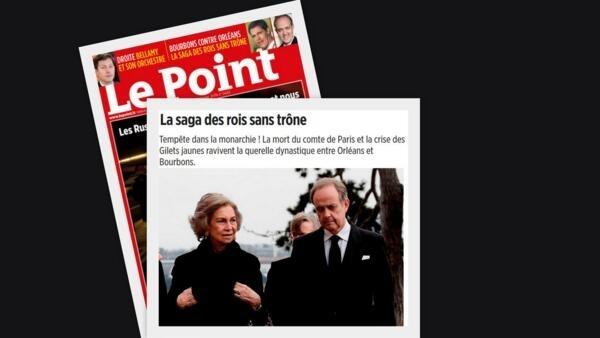 """Reportagem da revista """"Le Point"""" sobre as duas familias reais - Bourbon e Orléans - que disputam o trono da França."""