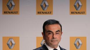 Carlos Ghosn, entonces presidente de Renault, durante una conferencia en Sandouville en septiembre de 2014.