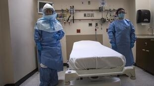 Trang thiết bị đặc biệt chuẩn bị đón nhận bệnh nhân nhiễm Ebola tại bệnh viên Bellevue trong khu Manhattan, New York ngày 8/10/2014.