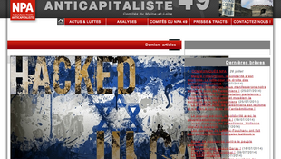 The site of the pro-Palestinian New Anti-capitalist Party hacked by Ulcan, aka Grégory Chelli