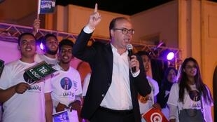 Elyes Fakhfakh, ici en tant que candidat à la présidentielle lors de la campagne électorale, à Tunis, le 12 septembre 2019.