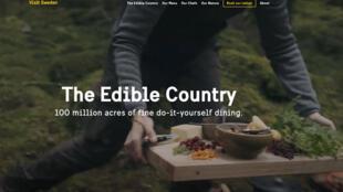 Capture d'écran de la page d'accueil du programme «The edible country» de Visit Sweden.