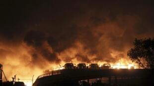 Explosions à Tianjin, le 12 août 2015.