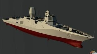 图为中国海军先进的055型驱逐舰模型图