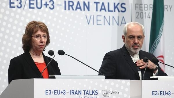 European Union Foreign Policy chief Catherine Ashton and Iranian Foreign Minister Mohammad Javad Zarif in Vienna, 20 February, 2014