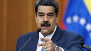 O presidente da Venezuela, Nicolas Maduro, durante uma conferência de imprensa no Palácio Miraflores, em Caracas, Venezuela. 14/02/2020.