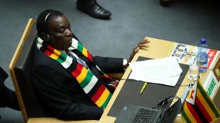 Le président zimbabwéen Emmerson Mnangagwa à Addis-Abeba, le 10 février 2019.