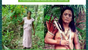 Kusuma, productora de Kitul en Sri Lanka y Sergio Batista García, productor de Guaraná en la Amazonía brasileña. Ambos invitados por Guayapí a Turín para el evento Terra Madre.