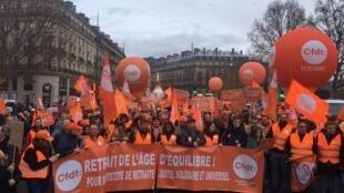 France's largest union, the CFDT, joins nationwide strikes against President Emmanuel Macron's pension reform, 17 December 2019.