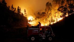 Пожарные борются с лесным пожаром в центре Португалии, 18 июня 2017 г.