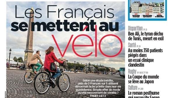 Capa do jornal Aujourd'hui en France desta sexta-feira, 20 de setembro de 2019.