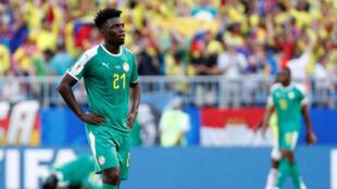 """Le Sénégalais Lamine Gassama après l'élimination des """"Lions de la Téranga"""" en Coupe du monde 2018."""