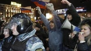 Protesters against the Russian election result in Moscow