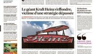 O jornal Les Echos traz em Manchete a fabricante de alimentos Kraft Heinz que enfrenta dificuldades no mercado financeiro