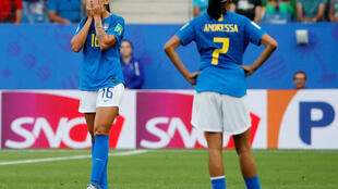 Desespero das jogadoras do Brasil.