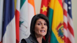 Đại sứ Mỹ tại Liên Hiệp Quốc phát biểu tại trụ sở LHQ , New York ngày 02/01/2018.