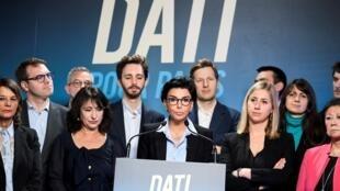 Rachida Dati, candidate Les Républicains à la mairie de Paris, lors d'un meeting à Paris le 24 février 2020.
