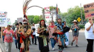 Marche de protestation contre la mine Dos Republicas, à Eagles Pass au Texas, avril 2016.