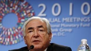 Dominique Strauss-Kahn, directeur général du FMI, lors d'une conférence de presse à Washington, le 7 octobre 2010.
