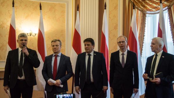 Слева направо: Юрий Губаревич, Виталий Рымашевский, Николай Козлов, Игорь Борисов, Григорий Костусёв