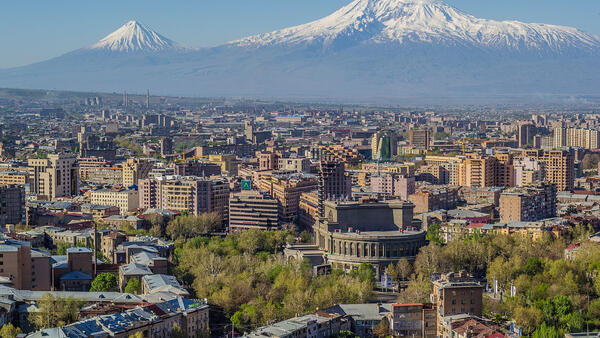 Mount Ararat and the Yerevan skyline in Armenia.
