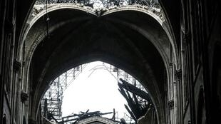 The interior of Notre-Dame the day after the devastating fire.