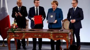 ប្រធានាធិបតីបារាំង និងប្រមុខរដ្ឋាភិបាលអាល្លឺម៉ង់ លោកស្រី Angela Merkel ចុះហត្ថលេខាលើសន្ធិសញ្ញា បារាំង-អាល្លឺម៉ង់ ថ្ងៃទី ២២មករា ២០១៩