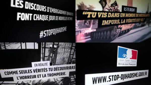 Screen captures of the government's anti-jihadist website www.stop-djihadisme.gouv.fr