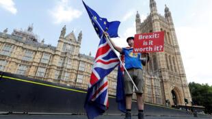 Un homme tient une pancarte anti-Brexit sur le pont de Westminister, au centre de Londres, le 13 juillet 2018.