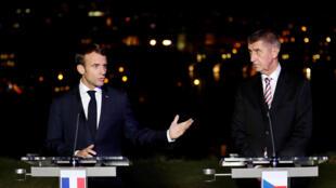 Emmanuel Macron et le Premier ministre tchèque Andrej Babis à Prague, le 26 octobre 2018.