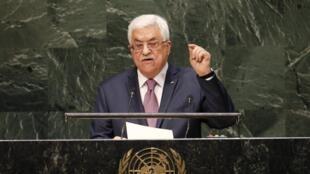 លោកម៉ះមូដ អាបាស់ (Mahmoud Abbas) ប្រធានាធិបតីប៉ាឡេស្ទីន នៅពេលថ្លែងក្នុងមហាសន្និបាតអ.ស.ប ថ្ងៃទី២៦ កញ្ញា ២០១៤