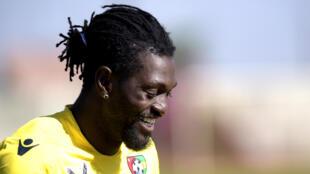 Emmanuel Adebayor à quelques jours du début de la CAN 2017 se prépare au Sénégal avec les Eperviers, le 6 janvier 2017.