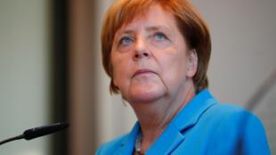 Thủ tướng Đức Angela Merkel trong một cuộc họp báo ngày 16/08/2018.
