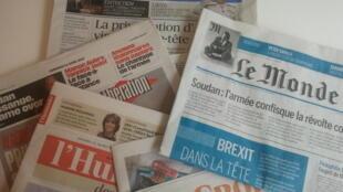 Primeiras páginas dos jornais franceses de 12 de abril de 2019