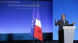 President Francois Hollande during his New Year's greeting to address the nation's youth and to people who work for the common good, Paris, France, 11 January 2016