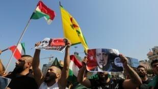 Người Kurdistan tại Liban biểu tình phản đối chiến dịch quân sự Thổ Nhĩ Kỳ tại Syria nhằm vào người Kurdistan ngày 13/10/2019.