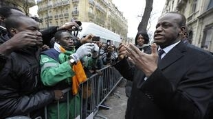 Ally Coulibaly, Côte d'Ivoire's newly-named ambassador to France, outside the embassy in Paris