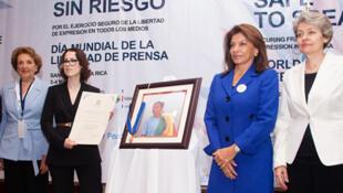 La presidenta de Costa Rica, Laura Chinchilla, y la directora general de la Unesco, Irina Bokova, durante la conferencia internacional sobre la libertad de prensa en Costa Rica.