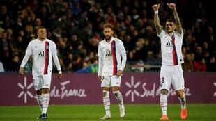 Paris Saint-Germain's Mauro Icardi celebrates scoring their third alongside Neymar and Mbappé to gloss over a shoddy team performance in Montpellier, France, December 7, 2019.